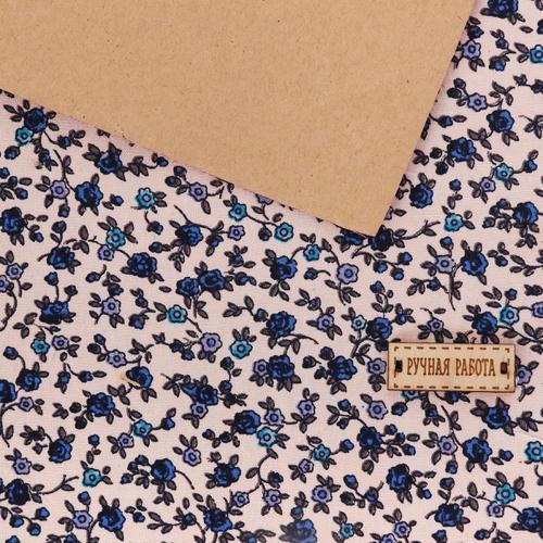 3087709 Ткань на клеевой основе'Синие цветочки',
