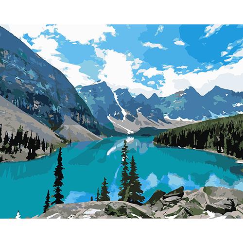 A018 Набор для рисования по номерам 'Горное озеро' 40*50см