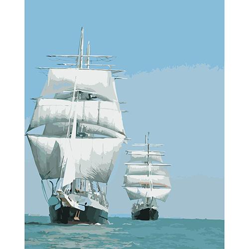 A027 Набор для рисования по номерам 'Корабли в море' 40*50см