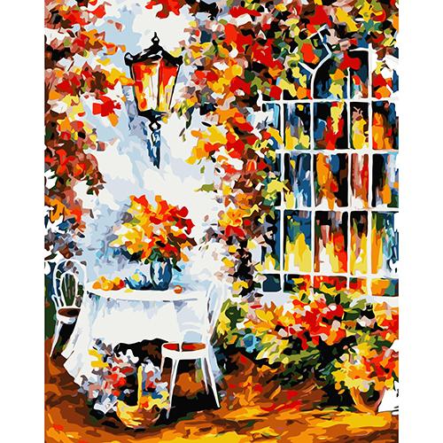 A029 Набор для рисования по номерам 'Столик в саду' 40*50см