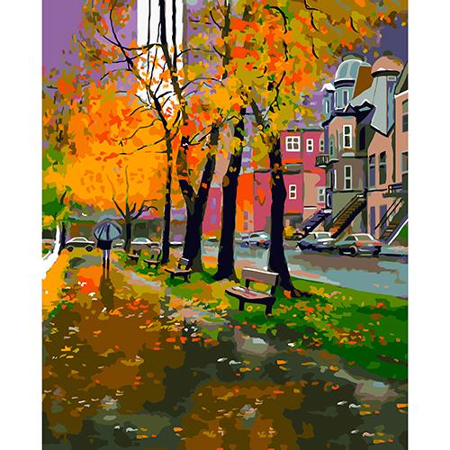 A035 Набор для рисования по номерам 'Осень в парке' 40*50см