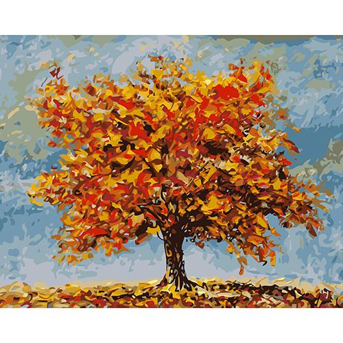 A044 Набор для рисования по номерам 'Яркая осень 40*50