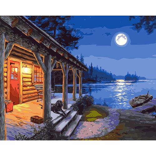 A045 Набор для рисования по номерам 'Ночная рыбалка' 40*50см