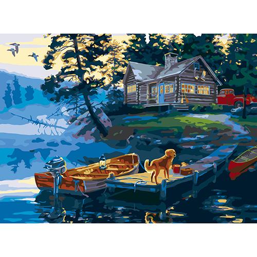 A049 Набор для рисования по номерам 'Домик у реки' 40*50см