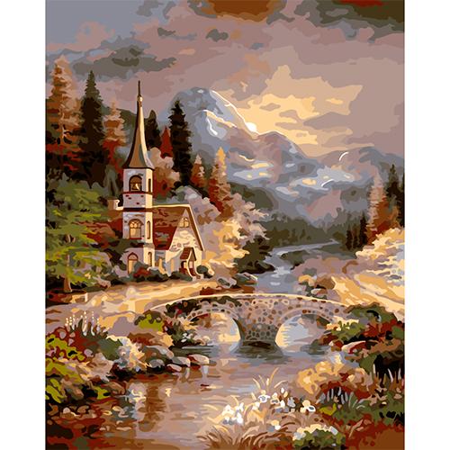 A054 Набор для рисования по номерам 'Замок в лесу' 40*50см