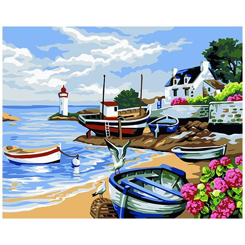 A063 Набор для рисования по номерам 'Лодки на берегу' 40*50см