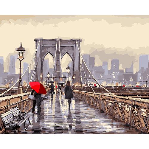 D006 Набор для рисования по номерам 'Мост во время дождя' 40*50см