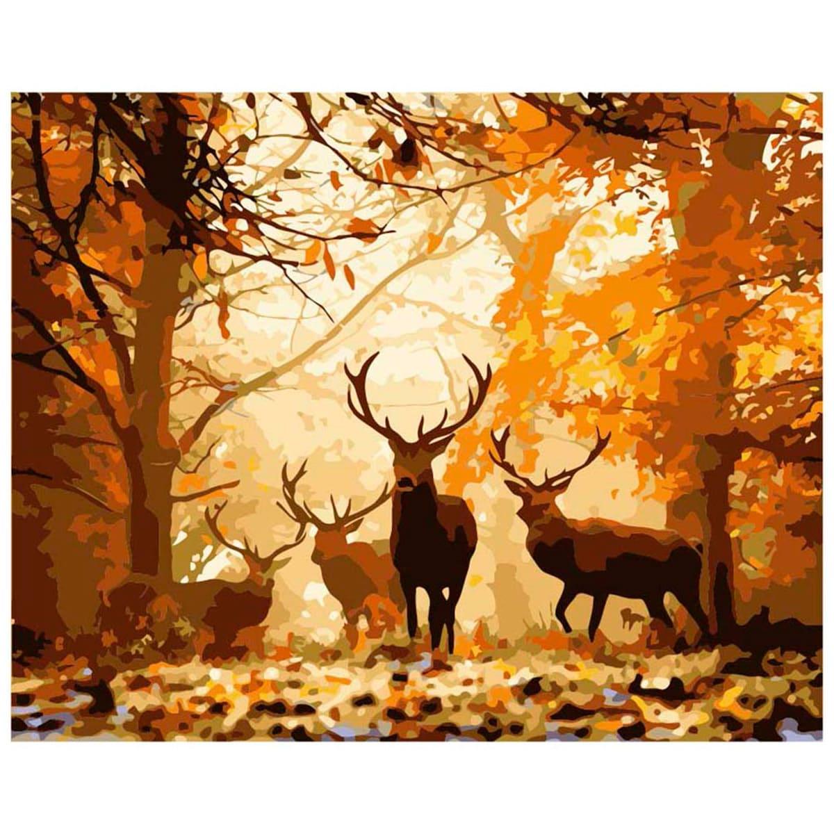 H001 Набор для рисования по номерам 'Олени в лесу' 40*50см