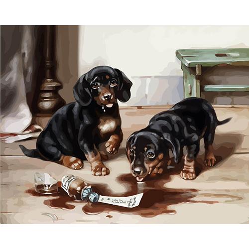 H004 Набор для рисования по номерам 'Два щенка' 40*50см