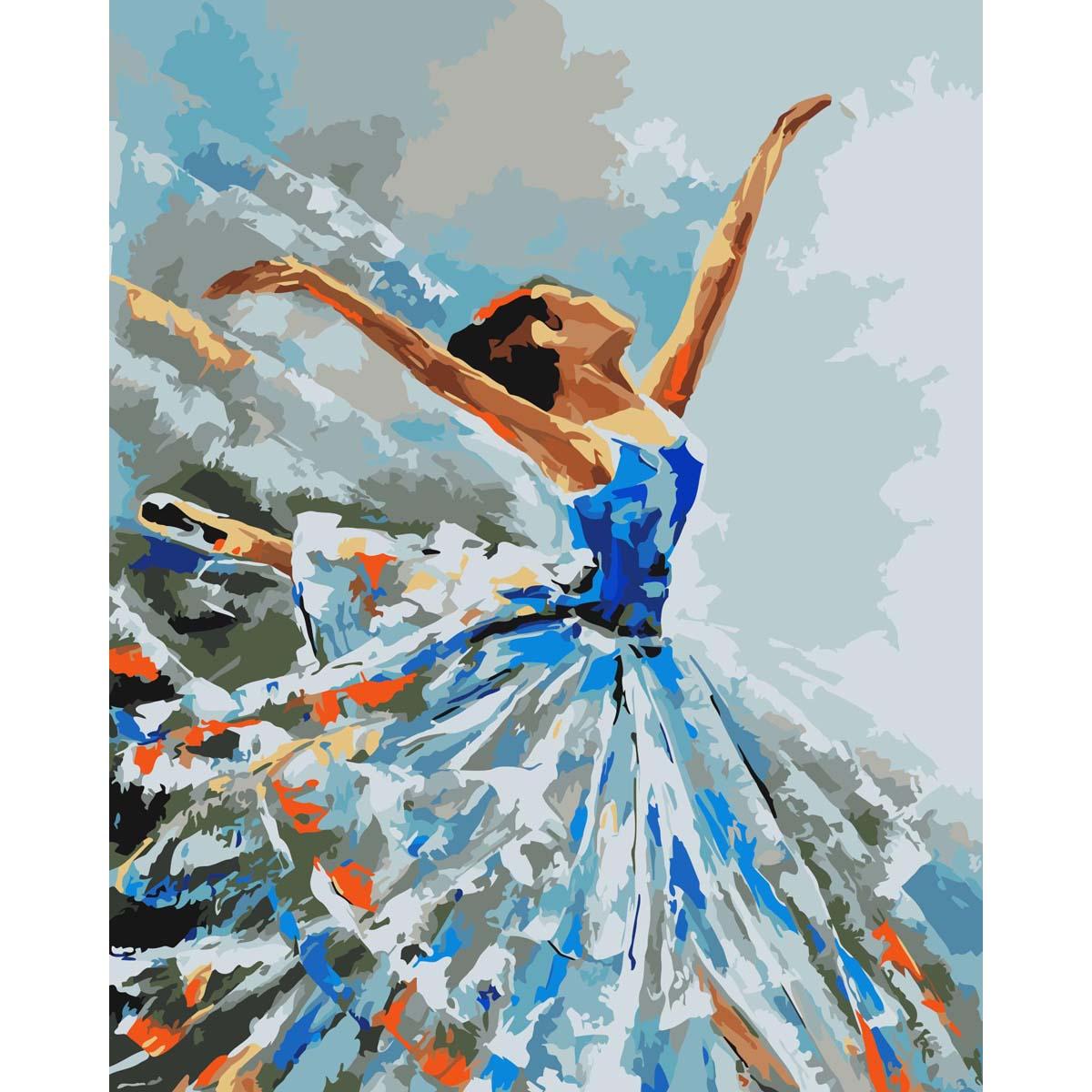 J001 Набор для рисования по номерам 'Балерина' 40*50см