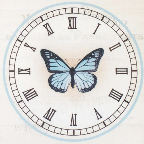 AM650010 Купон с рисунком'Бабочка в часах на бежевом фоне',хлопок 100%,120 г/м2,размер20*20 см,край1-5см