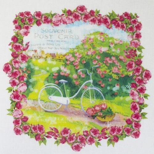 AM650016 Купон с рисунком'Винтажный велосипед в рамке из роз',хлопок 100%, 120 г/м2,размер20*20 см,край 1-5см