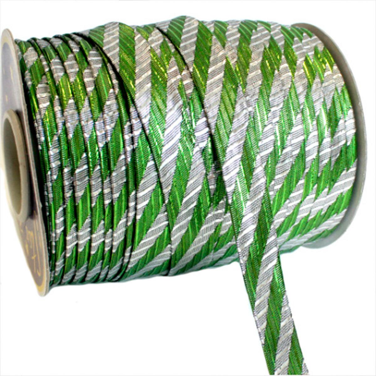 Бейка декоративная люрекс 'косая полоса' 15мм*91,4м