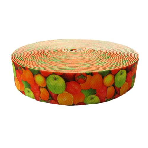 Лента эластичная декоративная, рис. 27 фрукты 28мм*10м
