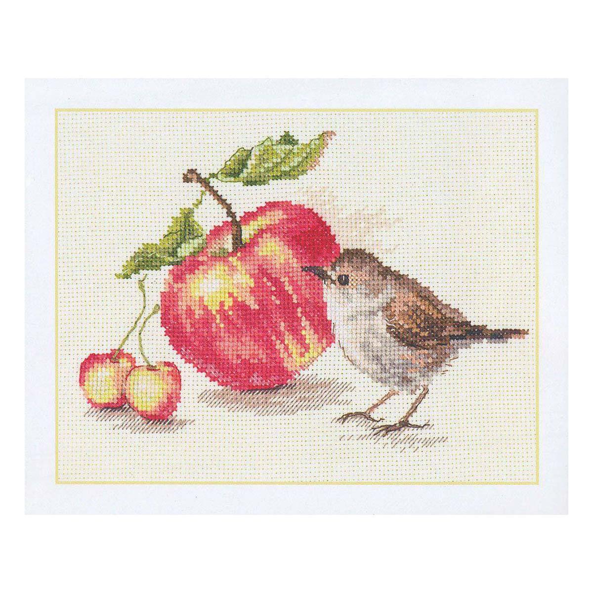 5-22 Набор для вышивания АЛИСА 'Птичка и яблоко' 17*11см