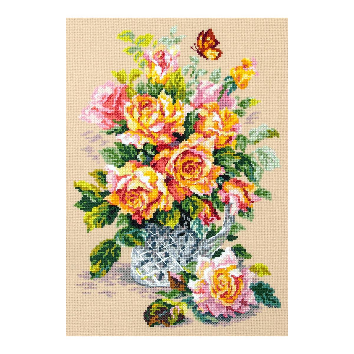 100-021 Набор для вышивания Чудесная игла 'Чайные розы' 24х34см