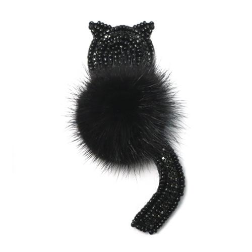 КС018 Аппликация Черный кот+черный мех 45*95мм