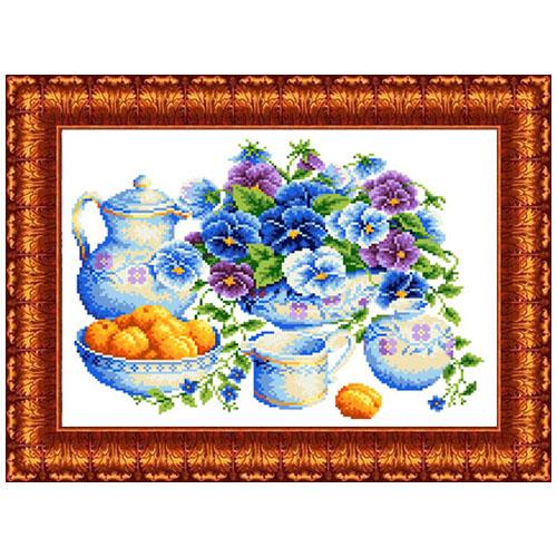 кткн145(р) Набор для вышивания Каролинка 'Голубой букет'23х30 см