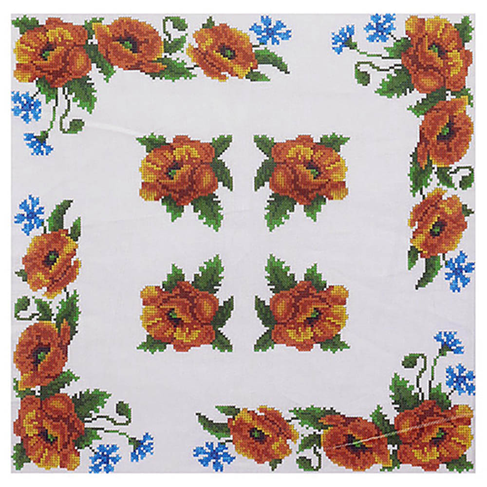 ККПН 01(бязь) Набор наволочка на подушку для вышивки крестом « Маки» 45*45см