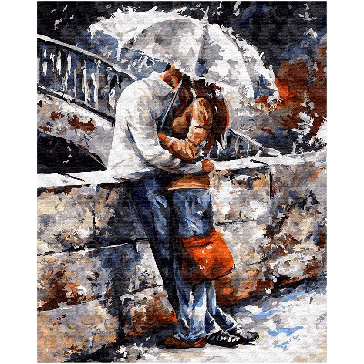 Ag 833 Набор д/изготовления картин со стразами 'Романтическая прогулка под дождем' 38*48см Гранни
