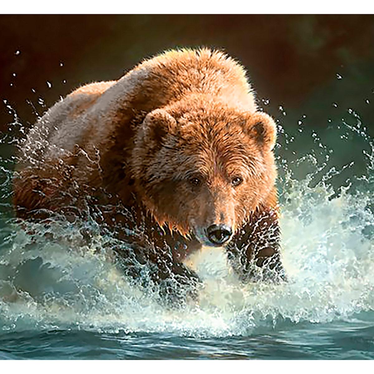 Ag 086 Набор д/изготовления картин со стразами 'Медведь на рыбалке' 48*38 см Гранни