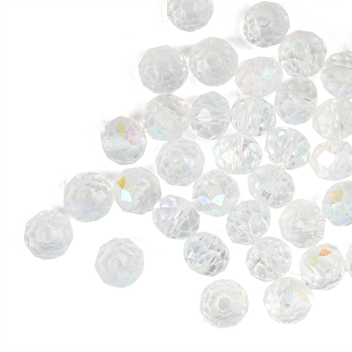 БП001ДН46 Хрустальные бусины прозрач.белые (с цв.покрытием) 4*6мм, 45-50 шт/упак