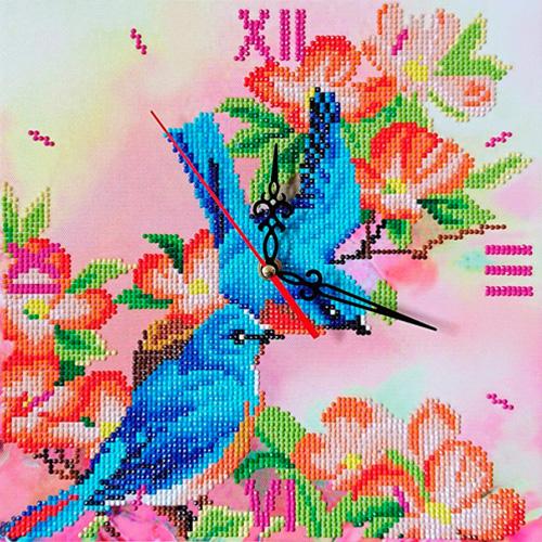 7303014 Алмазные часы Колор Кит 'Райские птички' 30*30см