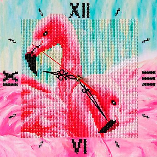 7303015 Алмазные часы Колор Кит 'Грациозные фламинго' 30*30см