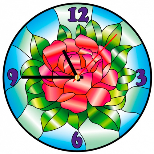 HV006 Витражные часы Color KIT 'Цвет розы' диаметр 30см