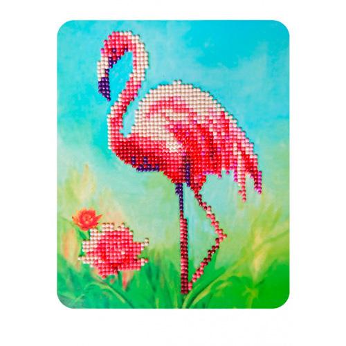 M013 Алмазная картина Колор Кит 'Розовый фламинго'17*21см