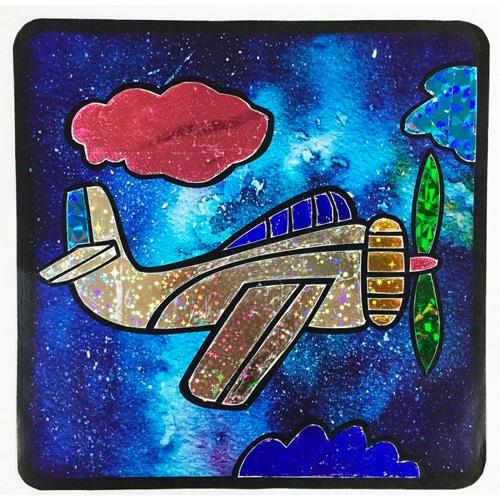 MH002 Наборы аппликаций с цветной фольгой Колор Кит 'Самолетик в облаках'22*22см