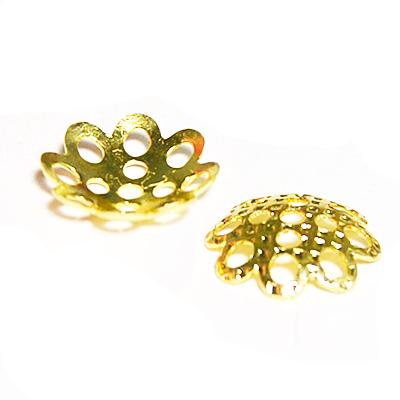 17-0005 Окончания (шапочки для бусин) золото 8*2мм