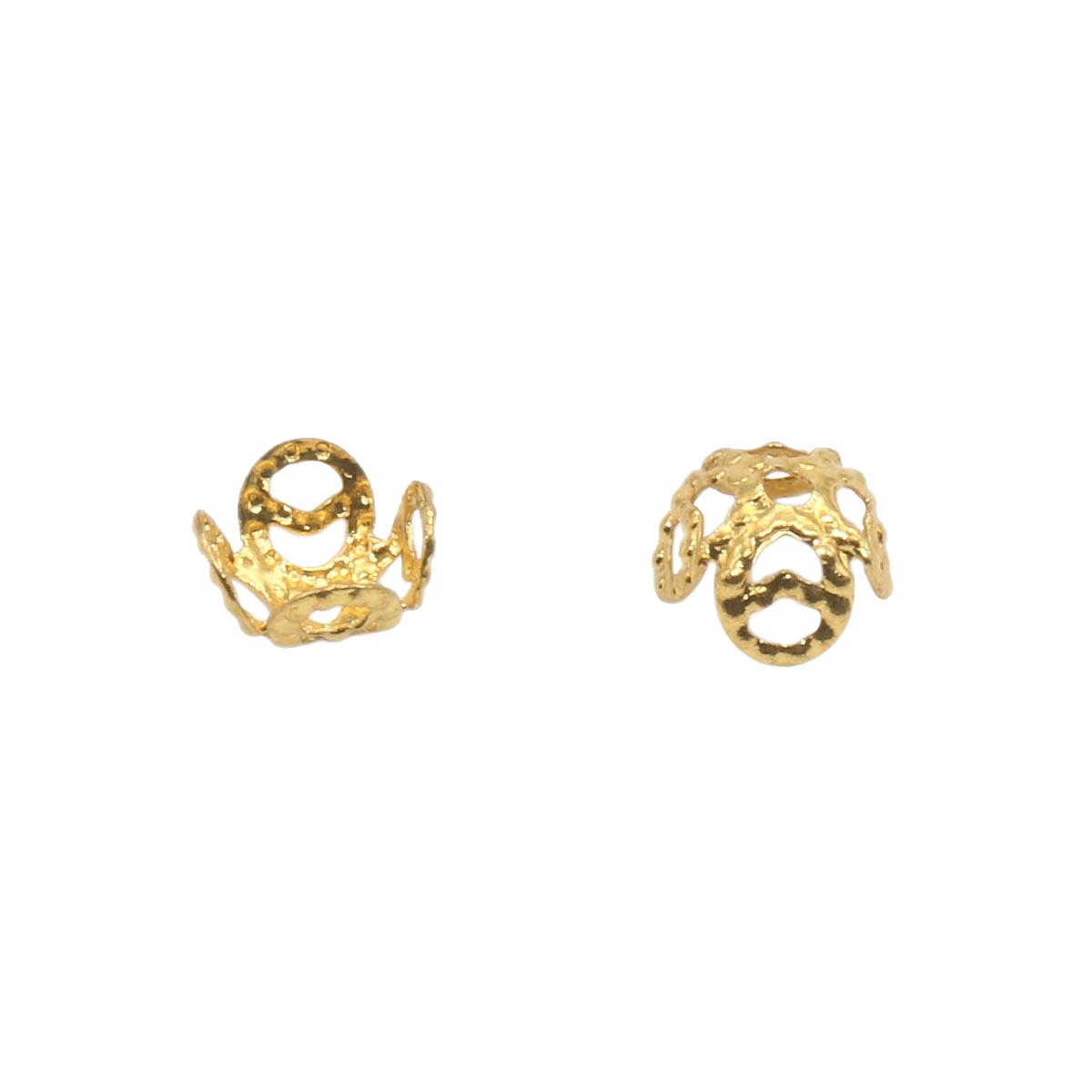 17-0007 Окончания (шапочки для бусин) золото 8*4мм