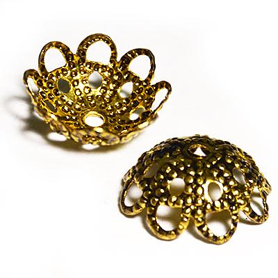 17-0018 Окончания (шапочки для бусин) золото 12*5мм