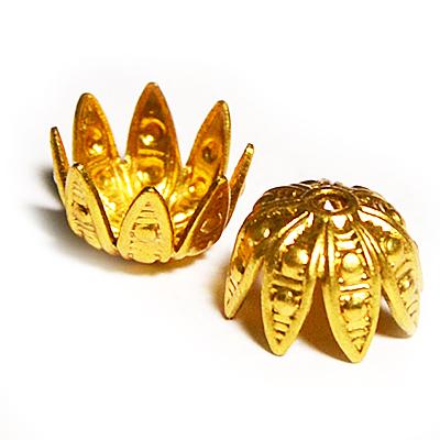17-0024 Окончания (шапочки для бусин) золото 8*6мм
