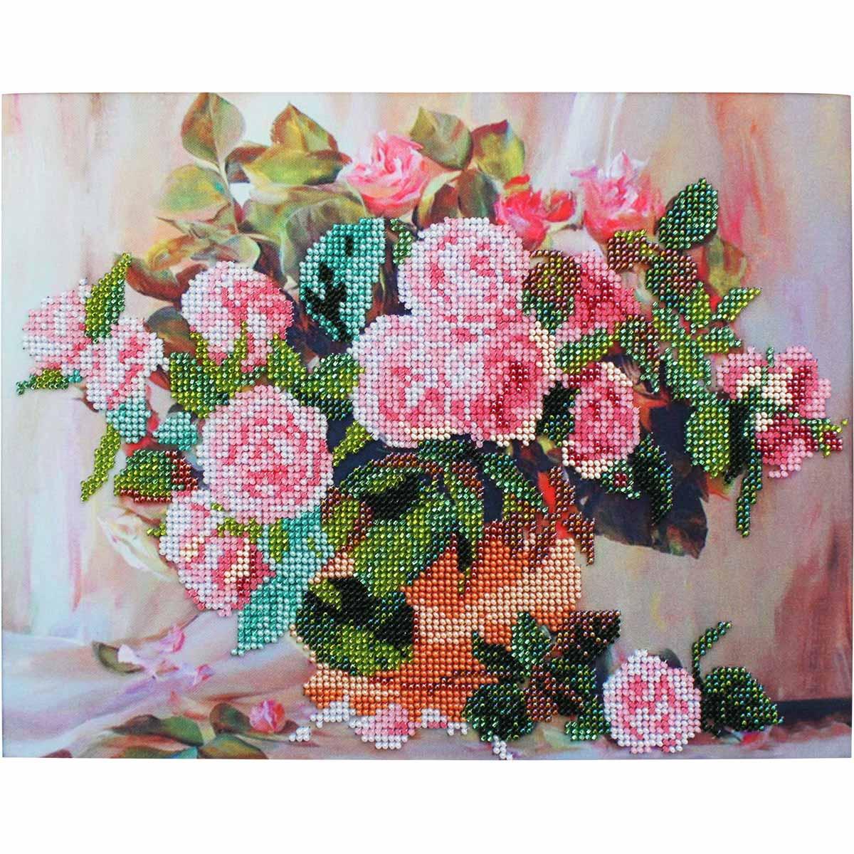 БН-3129 Набор для вышивания бисером Hobby&Pro 'Розы в вазе', 30*24 см