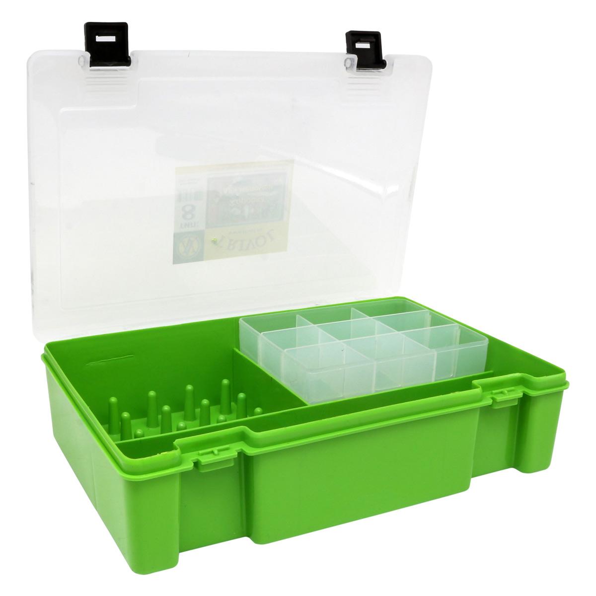 ТИП-8 Коробка с 16 катушкодержателями, вкладыш для мелких предметов и большое отделение для ножниц
