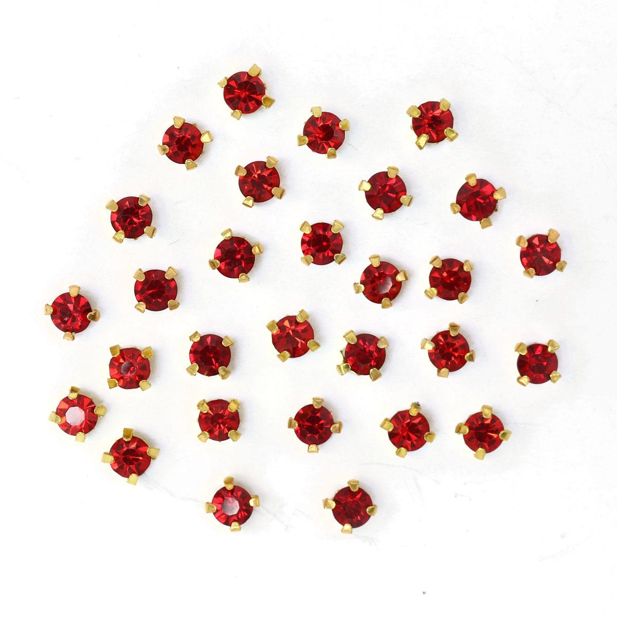 ЗЦ012НН44 Хрустальные стразы в цапах круглые (золото) красный 4*4мм, 29-30шт/упак Астра