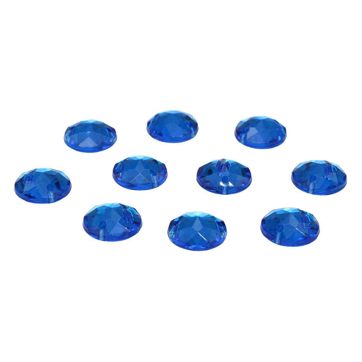 ACRT-M008 Стразы пришивные, акриловые, круглые 10мм, 10шт/упак