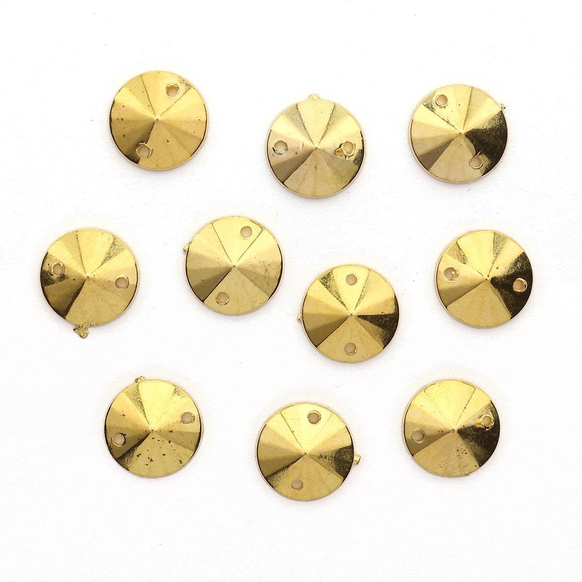 GACR-Q053-G Стразы акриловые,круглые золото 10*4мм, 10шт/упак