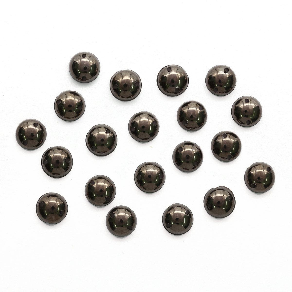 GACR-Q055-B Стразы акриловые,круглые гематит 8мм, 20шт/упак