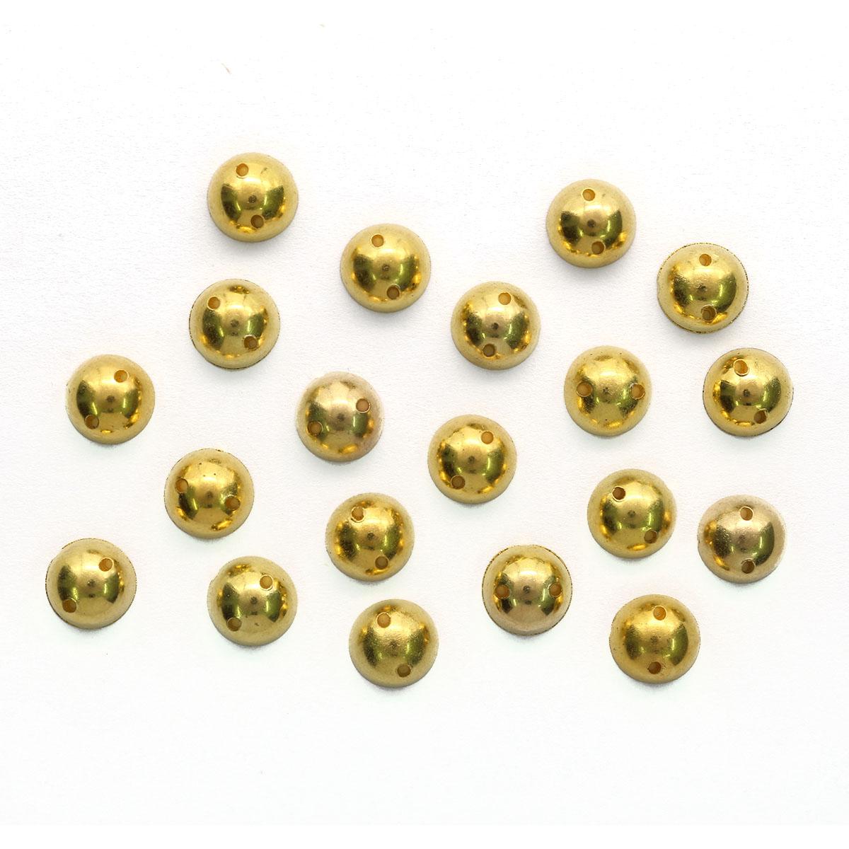 GACR-Q055-G Стразы акриловые,круглые золото 8мм, 20шт/упак