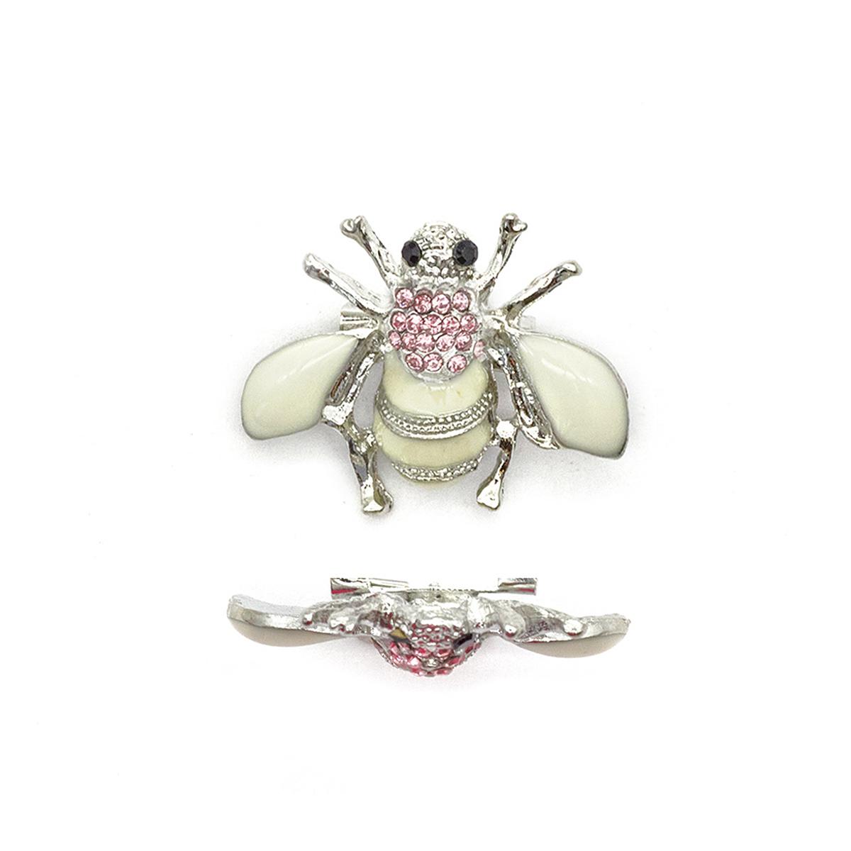 ГСХ584 Брошь Пчела 30*29мм, никель+белый/розовый страз