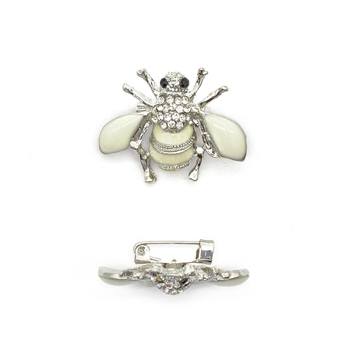 ГСХ584 Брошь Пчела 30*29мм, никель+белый/белый страз