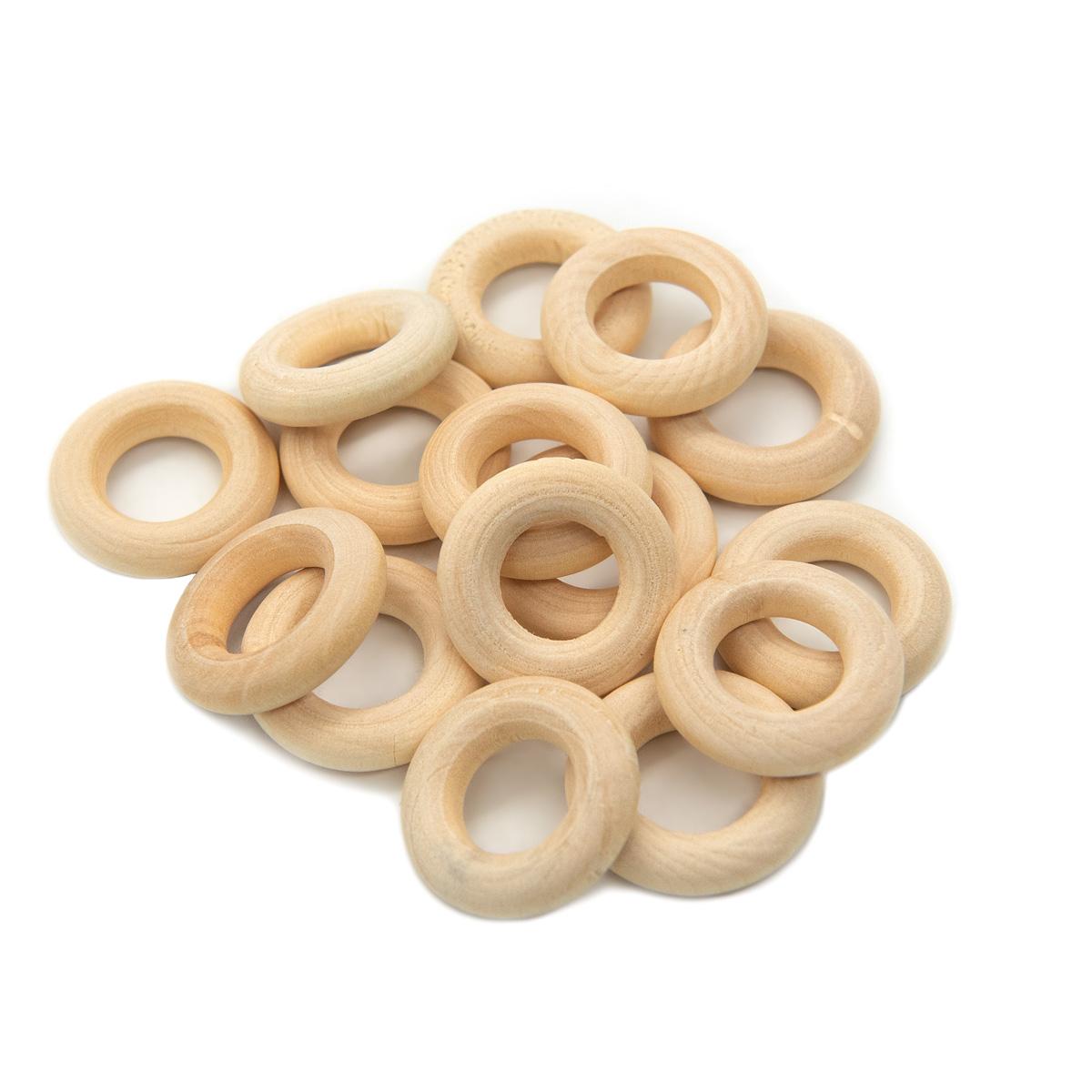 Бусины деревянные неокрашенные кольцо 20 мм, 15шт