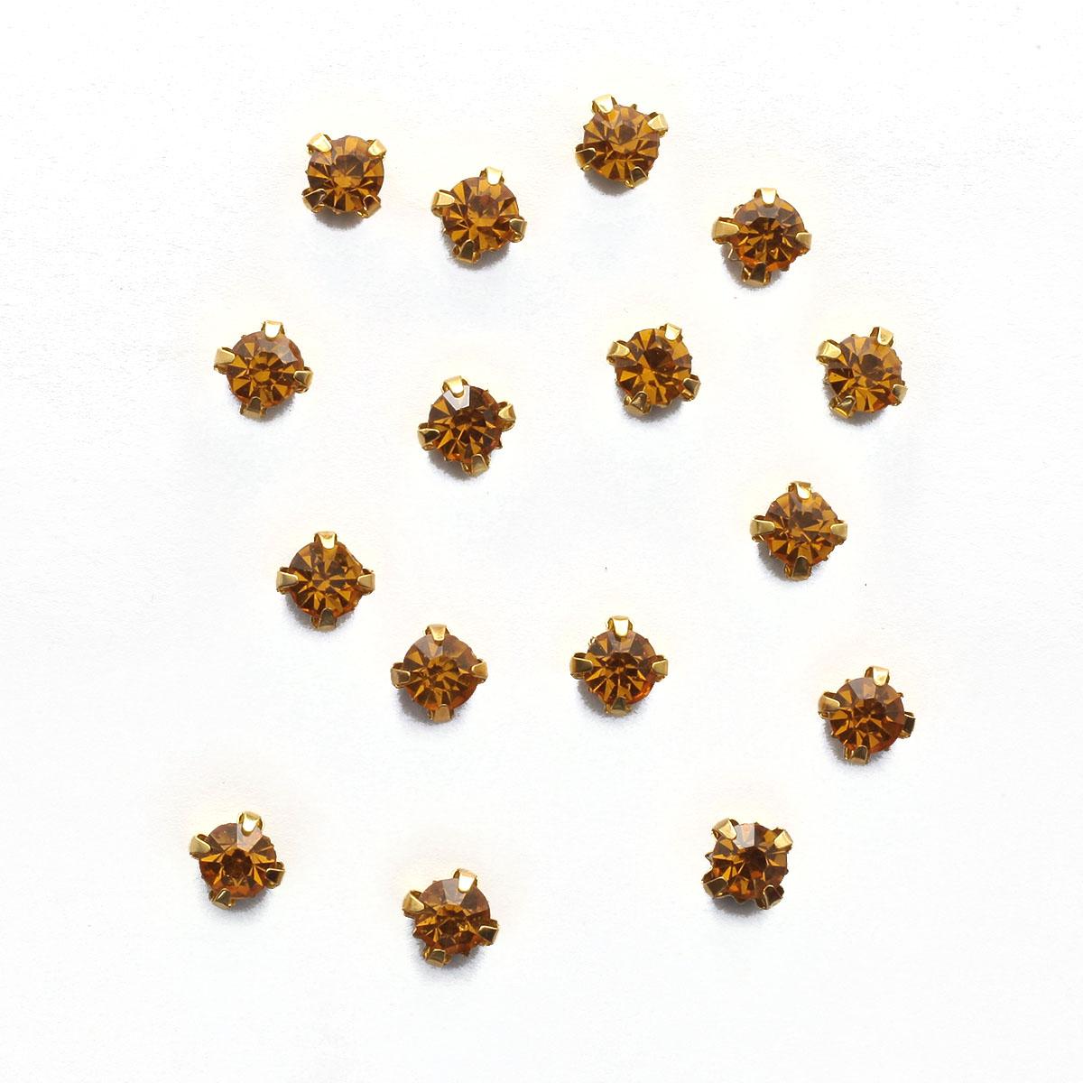 ЗЦ013НН66 Хрустальные стразы в цапах круглые (золото) медовый 6*6мм, 20шт/упак Астра
