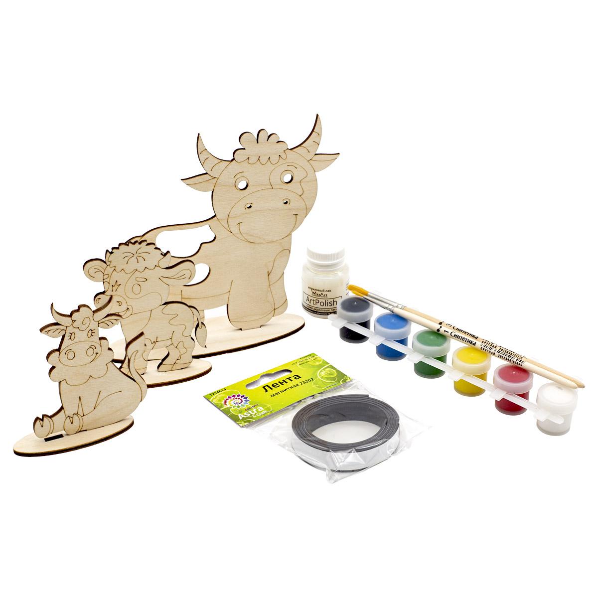 Набор для раскрашивания деревянных заготовок 'Бычки' №1, 8 предметов, Astra&Craft
