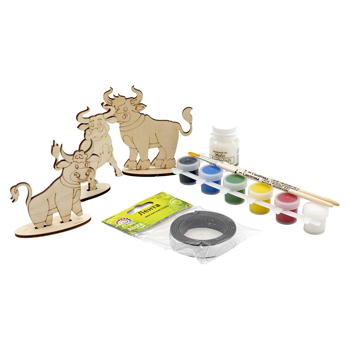 Набор для раскрашивания деревянных заготовок 'Бычки' №2, 8 предметов, Astra&Craft
