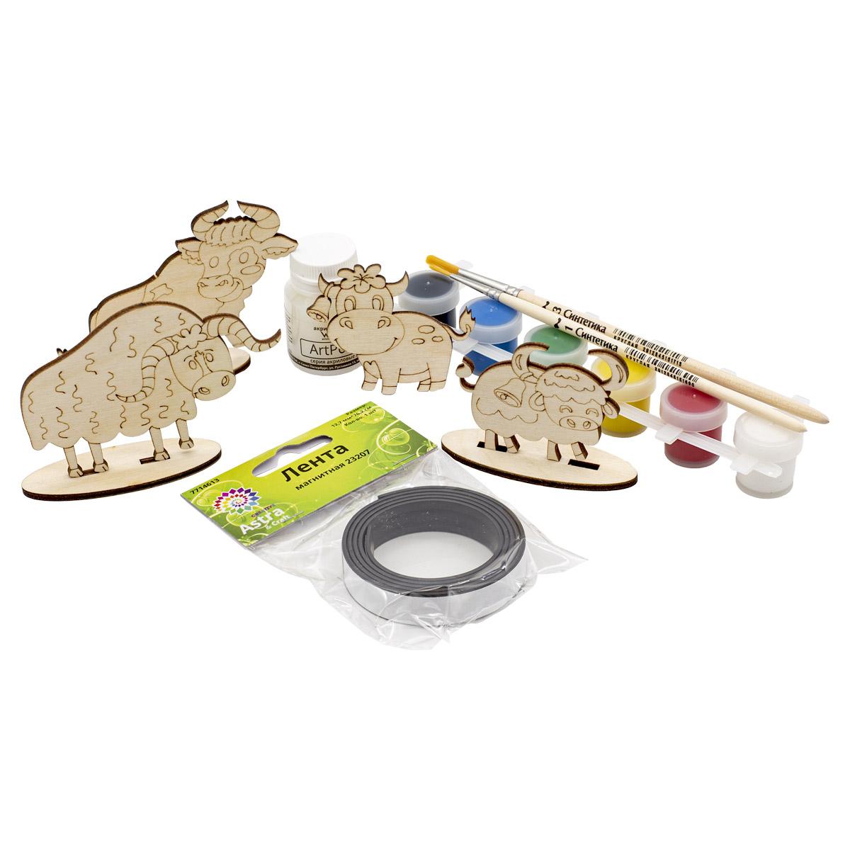 Набор для раскрашивания деревянных заготовок 'Бычки' №3, 9 предметов, Astra&Craft