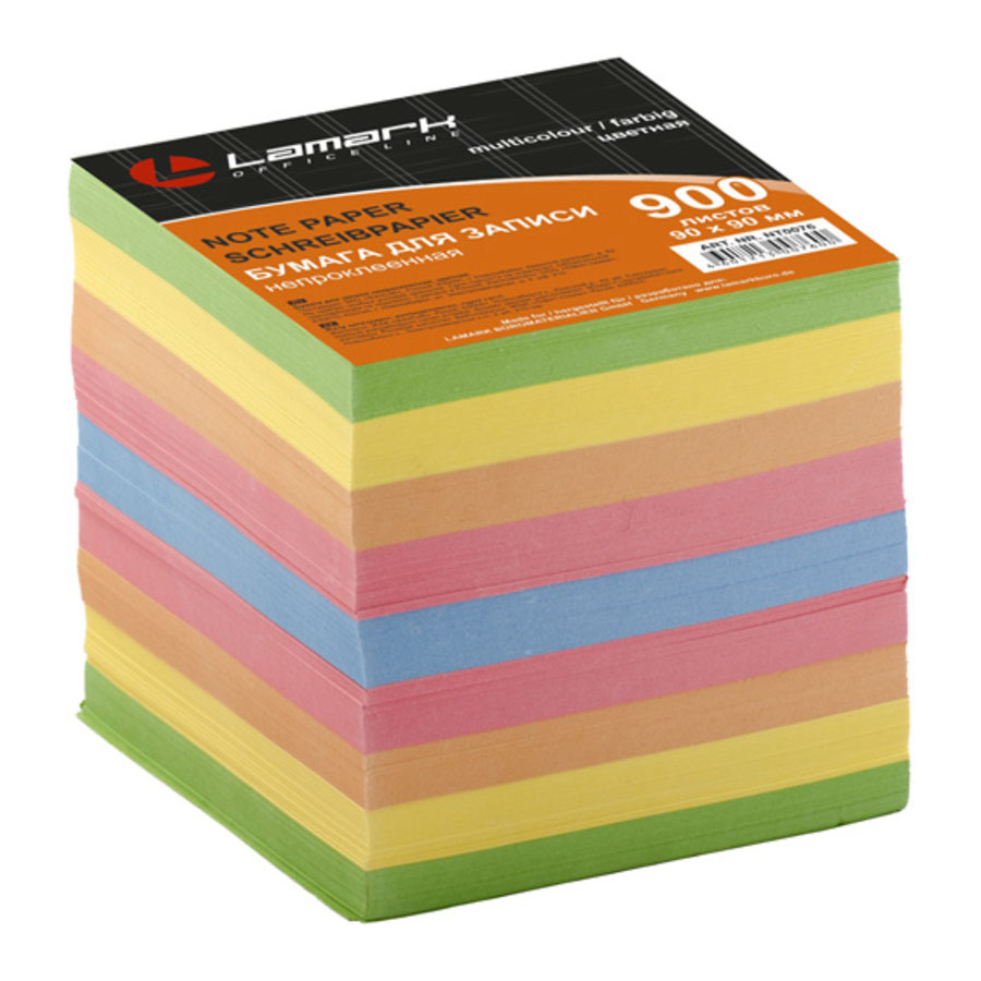 LAMARK76 Бумага для записи 90*90мм 900л цветная
